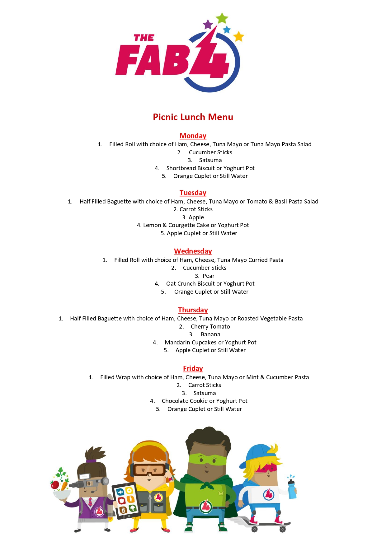 Packed Lunch Menu St Williams Primary Page 0001